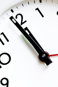 analog clock's arms at 12