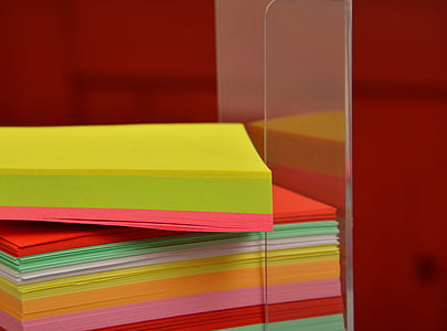 stack of assorted-color stick notes