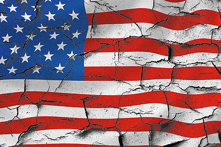 cracked U.S. flag