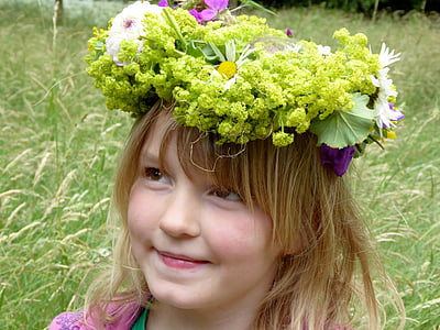 girl with floral headdress