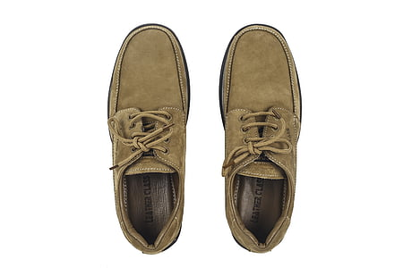 pair of brown suede low-top shoes