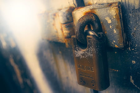 gray steel padlock