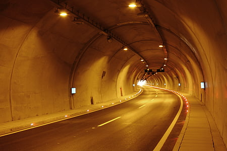 gray tunnel roadway