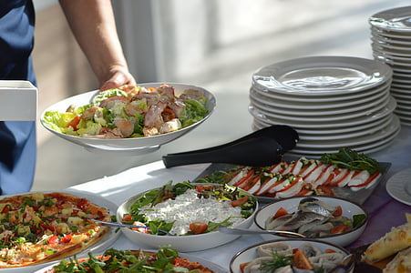 assorted dishes on platters