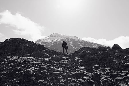 man silhouette on top of mountain