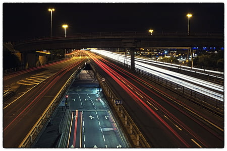 timelapse photo of a highway
