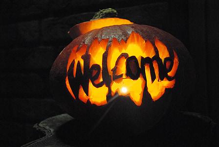 orange jack o' lantern with welcome text