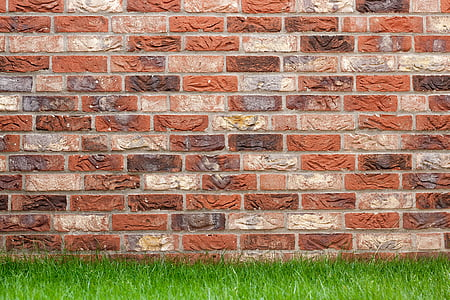 brown brick wall and green grass