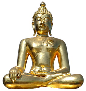 golden buddha, sitting, isolated, buddha, statue, buddhism