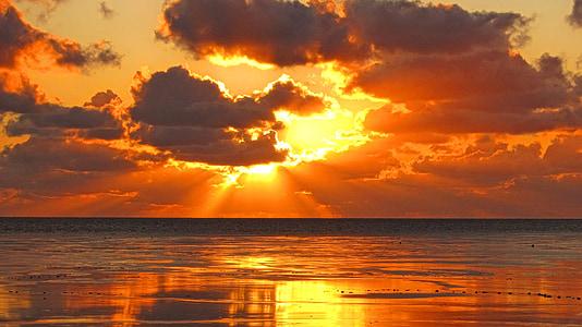 ocean water during orange sunset