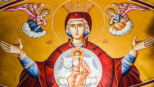 virgin mary, queen of heaven, iconography, religion, orthodox, church