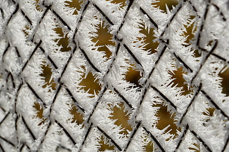 chain link fence with white fringe at daytime