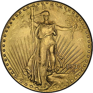 1933 gold-colored Liberty coin