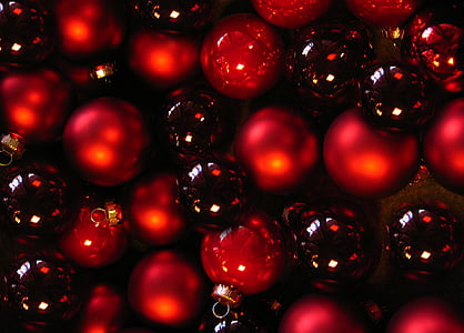 close-up photo of red and black bauble lot