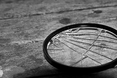 closeup photo of broken magnifying glass