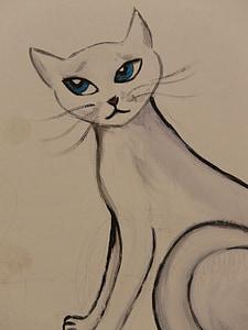 cat, drawing, image, painting, animal, graffiti