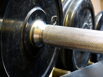silver barbell rod