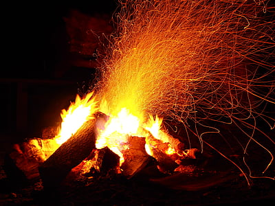 bonfire with fire sparks