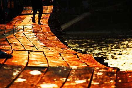 pier, walking, path, sunset, sundown, nature