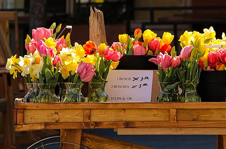 pink and yellow flowers on brown wooden table