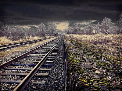 empty brown train rail