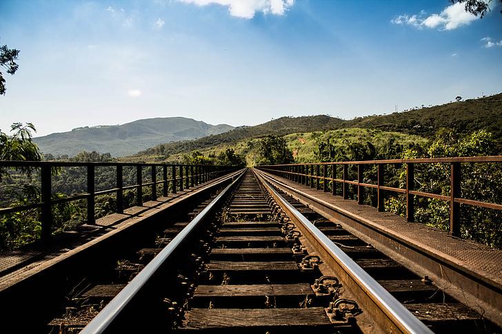 brown and grey train rails under grey sky