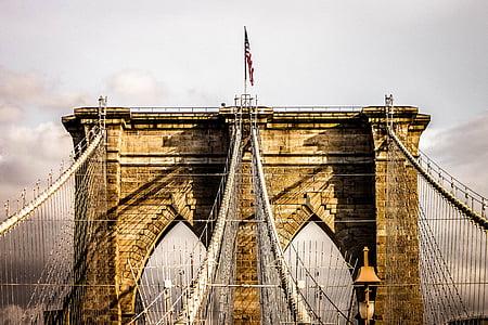 USA flag on Brooklyn Bridge, New York