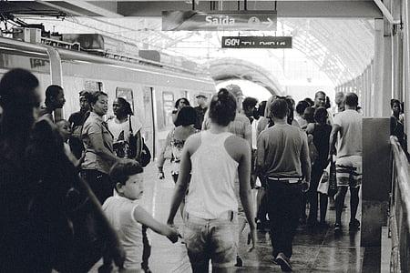 people walking on subway