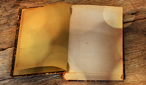 blank book page on brown surface