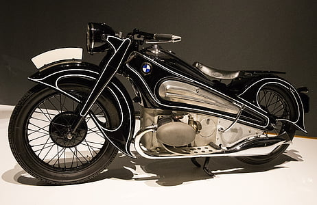 black and silver BMW motorcycle