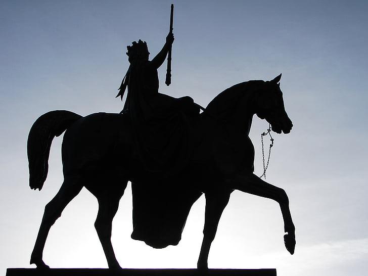 statue, queen victoria, glasgow, square, scotland, silhouette