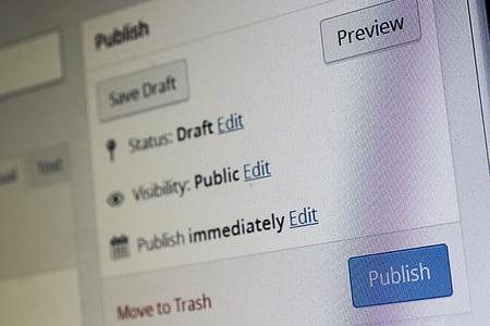 blue Publish button screengrab