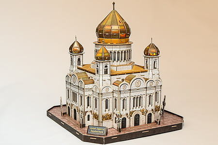 white and gold mosque scale model