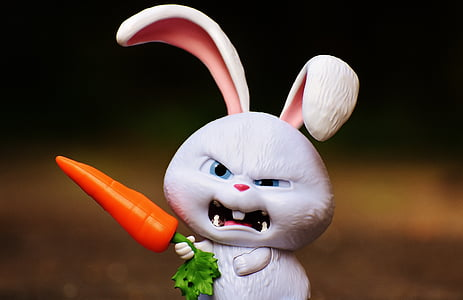 angry rabbit holding carrot figurine