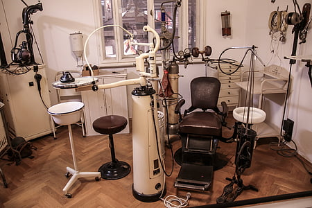 vintage brown and white dentist chair