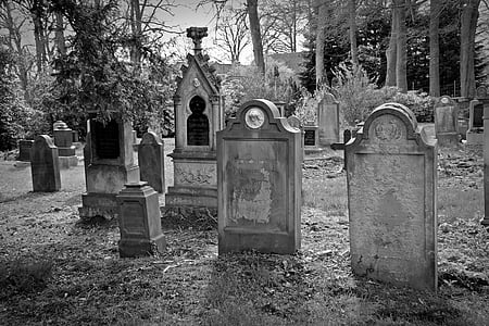 grayscale photography of graveyard