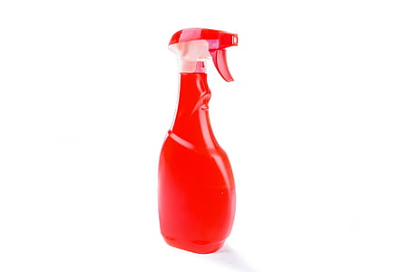 red plastic spray bottle