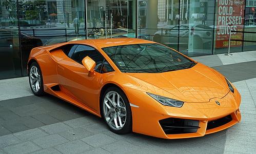 orange Lamborghini Huracan coupe