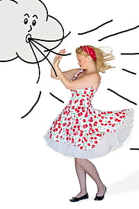 women's white and red cherry print sleeveless dress during windy day