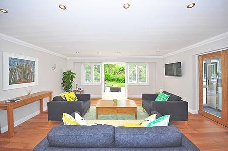 living room set during daytime