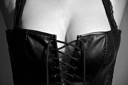 black leather lace-up corset