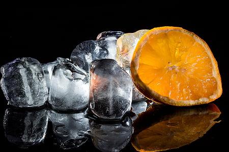 photo of lemon and ice cubes