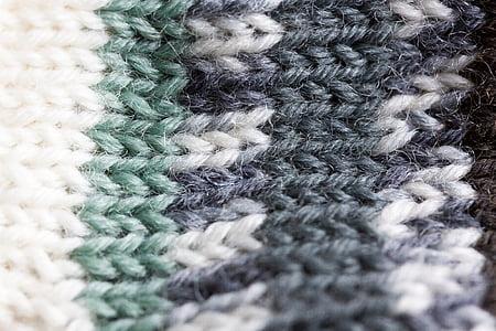 closeup photo of white and gray crochet