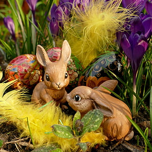 two brown rabbits plastic toy