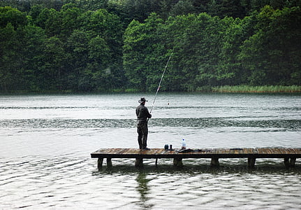 man fishing in the dock during daytime