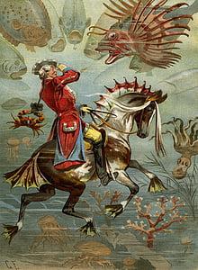 man riding on horse illustration