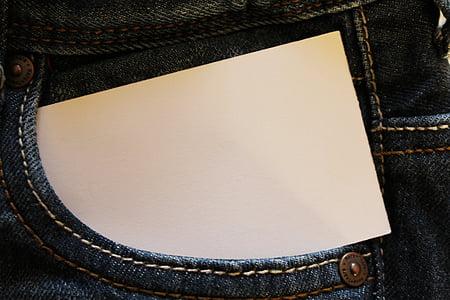white card in pocket
