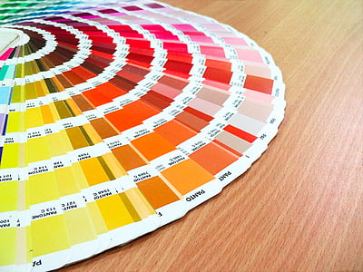 color chart on brown wooden table