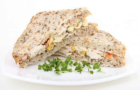 two sandwich on plate with leafy vegetable