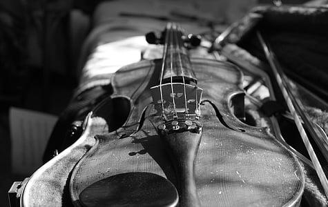 gray scale photo of violin